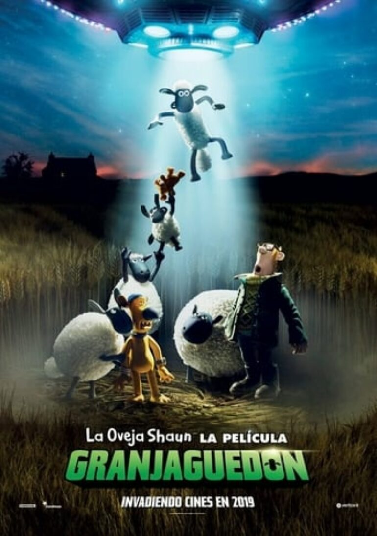 "Poster for the movie ""La oveja Shaun, la película: Granjaguedón"""